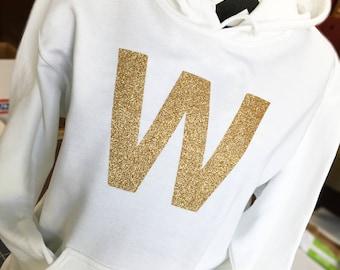 FLY THE W - Cubs Win GOLD Glitter Hooded Sweatshirt
