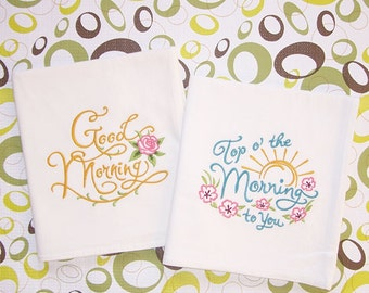 Morning Towels Kitchen Designs Embroidered Flour Sack Towels Set of 2