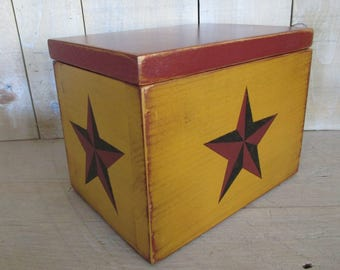 Primitive Recipe Box, Index Cards, Photo Box - Barn Stars, Hinged Lid