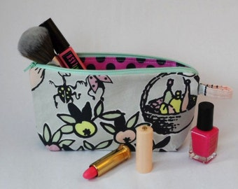 Moomin Characters Grey and Pink Tove 100 Fabric Zipped Pouch Purse Bag
