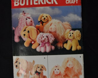 Adorable Stuffed Dog Pattern, Butterick #4163, 4 different dogs with matching puppies