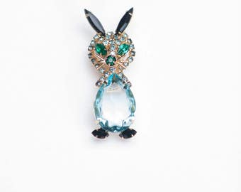 Fabulous Juliana Brooch Easter Bunny Brooch D&E Brooch Rabbit Brooch Aquamarine Goldtone Rhinestone Figural