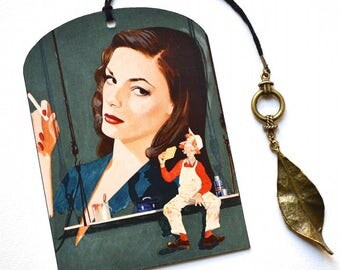 SPECIAL OFFER ! Mini Bookmark with Bronze Pendant - Lady and Painter - Vintage Style - Handmade