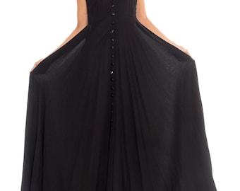 1990s Black Button Front High Neck Maxi Dress Size: