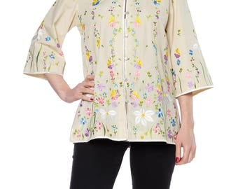1960s Floral Eembroidery Asian-inspired Top Size: 6
