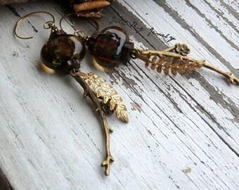Dark Depths- dark brown artisn lampwork beads. vintage brass fern fronds. gold filled. floral jewelry. boho earrings. Jettabugjewelry