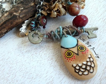 Turquoise Owl- hand painted wooden owl pendant. turquoise cherry red. vintage skeleton key. long Indie boho wood necklace. Jettabugjewelry