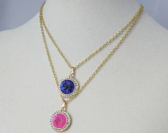 "Pink or Blue/Purple Crystal Rivoli & Rhinestone Pendant on 15"" Gold Chain"