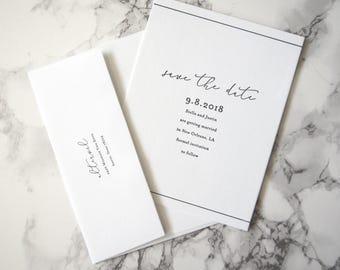 LETTERPRESS SAMPLE | Stella Save the Date | Minimalist Invitation | Simple Invitation | Black and white invitation | Clean Invitation