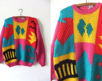 Matisse Style Abstract Sweater - Heavy Knit 90s Color Block Pop Art Slouchy fit Oversize Vintage Jumper - Womens Large