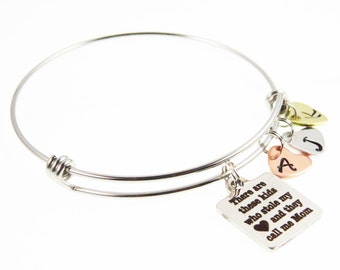 Mother's Children's Initials Family - Hand Stamped Bangle Custom Mom Bangle Bracelet - Expressions Bracelets  Heart Charm Bracelet
