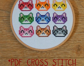 Rainbow cat faces cross stitch pattern - counted cross stitch, printable PDF