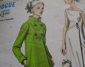 Vintage 1960's Vogue 6368 Evening Dress and Coat Sewing Pattern, Size 12, Bust 32