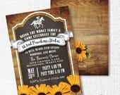 PREAKNESS STAKES horse race party invitation rustic wood horse racing invite black-eyed susan