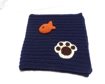 Crochet Pet Blanket/Cat Blanket/Medium Dog Blanket and Fish Toy Set in Navy Blue - Ready to Ship
