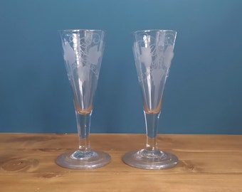 Pair of Antique Plain Stem Short Ale Glasses engraved with hops and barley c1770