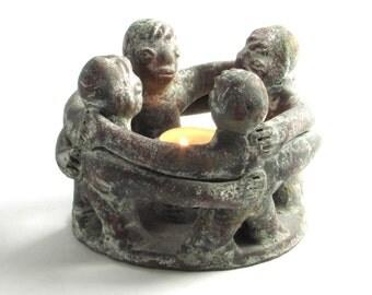 Primitive Circle of Friends Sculpture - Candle Holder - Incense Burner