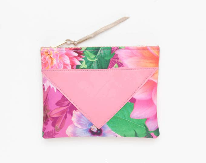 SPLASH 89 / Cotton pouch-natural leather pouch-floral print-make up bag-cosmetic purse-small leather purse-zipper pouch-Ready to Ship