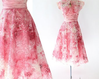 Vintage 50s pink floral lace watercolor wedding dress S