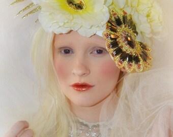 Ivory rose floral boho headdress tiara crown fringe headpiece fascinator hat  headdress fashion accessory