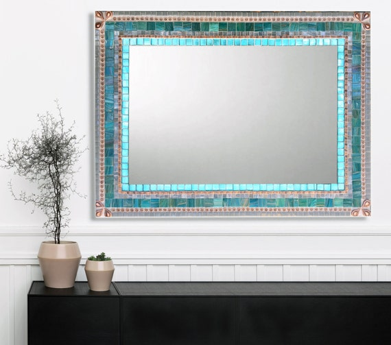 Large Wall Mirror Mosaic Mirror Aqua Gray Copper Bathroom