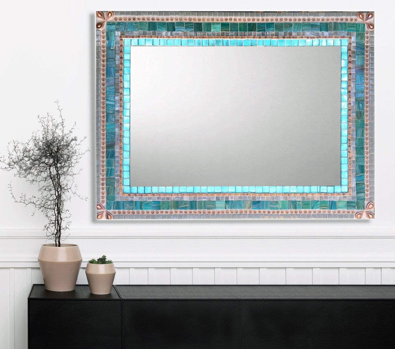 Large Wall Mirror Mosaic Mirror Aqua Gray Copper Bathroom