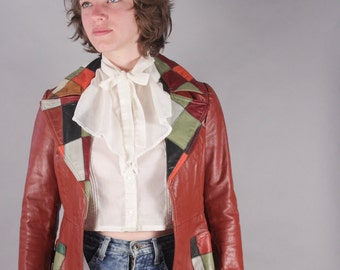 70s Rust Colored Fitted Leather Jacket Blazer w Patchwork Collar