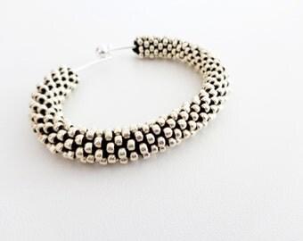 Silver Cuff Bracelet // Aluminum Bracelet // Christmas Gift // Crochet Rope Bracelet // Beaded Rope bracelet // Gift fo her //