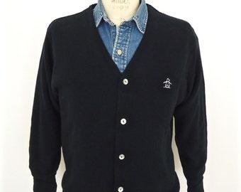 Vintage Penguin Cardigan Sweater / Grand Slam preppy black & white tennis or golf sweater with embroidered logo / men's medium