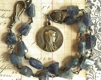 Beautiful Iolite Necklace with Large Vintage Virgin Mary Medal