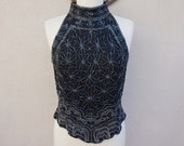 RESERVED Vintage Black Beaded Top, Beaded Tank Top, Unique Black Blouse, Party Clothing, Floral Tank Top, Scalloped High Neck Top, Silk Tank