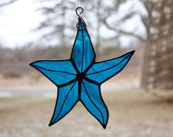 Stained Glass Starfish, Deep Aqua, Beach Decor, Glass Art