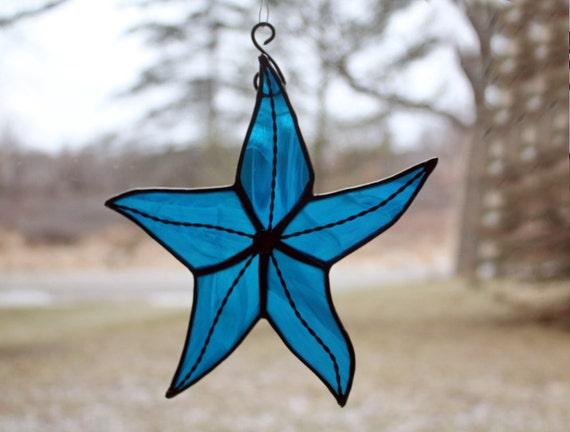 Stained Glass Starfish, Deep Aqua Blue