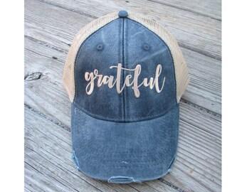 Grateful Hat, Grateful Trucker Hat, Grateful Thankful Blessed, Grateful Apparel, Grateful, Grateful Baseball Hat, Grateful Cap
