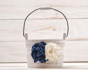 Navy Blue Ivory Flower Girl Basket Wedding Basket Wood Flower Basket Flower Girl Bucket Ivory  and Royal Blue Wedding Accessories