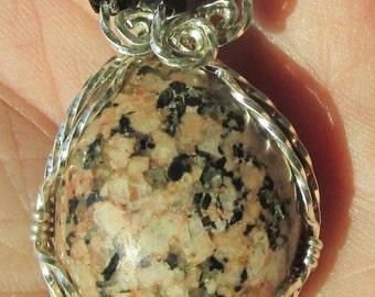 The Stone Necklace ,  Granite in Silver wire