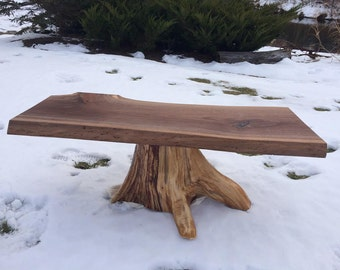 Rustic Walnut Cedar Stump Table