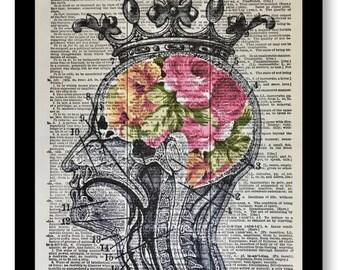 Anatomical Prints, Anatomical Artwork, Anatomical Decor, Anatomical Floral Head, Head of Flowers, Pink Prints, Anatoimcal Dictionary Art