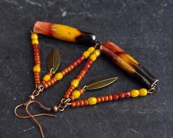 gift for her handmade jewelry boho ooak dangle earrings one of kind mustard brown triangle hoops