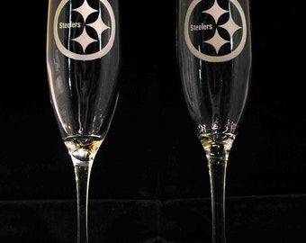 Pair of Pittsburgh Steelers hand etched champagne flutes Made in USA