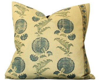 Jasper Michael Smith Indian Flower Pillow Cover in Blue