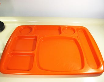 Vintage Retro Lunchroom School Cafeteria Lunch Trays TV Dinner Trays Set of 4 Orange color Plastic Plates Made in France 1970s