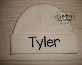 Custom personalized monogrammed personalized name navy on white newborn baby boy hat