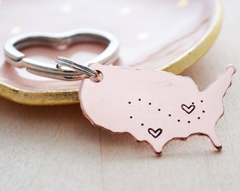 United States Keychain - Moving Away Gift - See You Soon - USA Map - Best Friend Long Distance Relationship - Hand Stamped Keychain - LDR