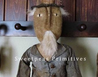 Primitive Folk Art Americana 4th of July Vintage Style Folk Art Handmade Hanging Uncle Sam Doll with Wooden Star Flag ~ Sweetpeas Primitives