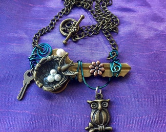 Garden Key Necklace, Magic Garden Key, Magic Key Necklace, Fairy Key, Upcycled Key Necklace, Owl Necklace