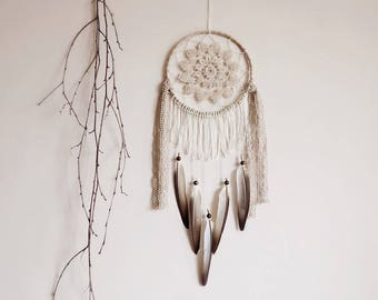 Dream catcher, large, boho dreamcatcher, bohemian, crochet doily, wall decor, neutral, wall hanging, handmade, room decor, boho decor, beige