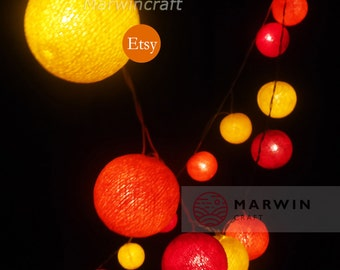 20 Cotton Balls Sunshine Color Tone Fairy String Lights Party Patio Wedding Floor Table Hanging Wall Gift Home Decor Living Bedroom Night