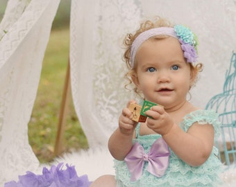Aqua Romper, Cake Smash Outfit Girls, Lace Romper, Baby Girl 1st Birthday Outfit, Cake Smash Outfit, 1st Birthday Girl Outfit, Rompers