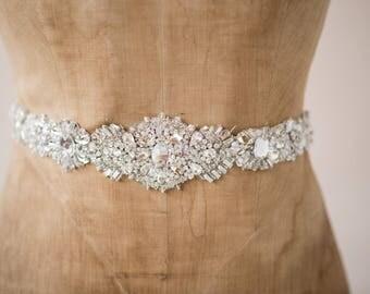 Wedding Belt Bridal Sash, Statement Vintage Luxe Rhinestone Heavy Crystal Beaded Ornate Art Deco Trim, Accessories, Camilla Christine RYAN